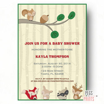 Best woodland baby shower invites products on wanelo forest animal baby shower invitation printable woodland baby s filmwisefo