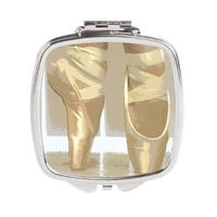 Pointe Shoes Square Compact Mirror