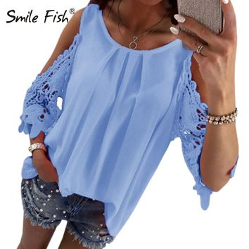 Summer Chiffon Women Blouses Casual Sexy Sun-top Half Sleeve Lace Patchwork Shirts Off Shoulder Tops Solid Plus Size GV381