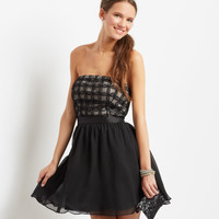 Aeropostale  Mesh Petal Grid Strapless Dress - Black, 00