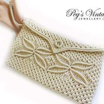 Macrame Purse//Clutch Vintage Cream Color//Macrame Bag Fashion Accessory