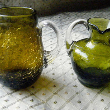 Crackled Glass Pitchers/ Mini Amber and Green Glass