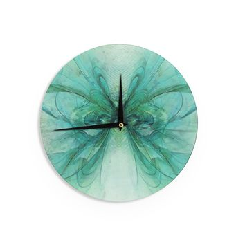 "Alison Coxon ""Butterfly Blue"" Green Black Wall Clock - Outlet Item"