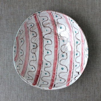Danish Modern Pottery Bowl, Easter Egg Pattern, Ceramic Bowl RAS Denmark