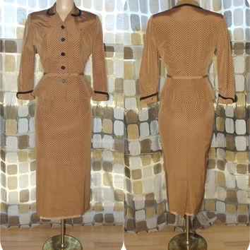 Vintage 50s Peplum Dress Suit | 1950s Dress & Jacket Set | 2 Piece Dress Suit | Hourglass Bombshell | L'Aiglon | Size 10