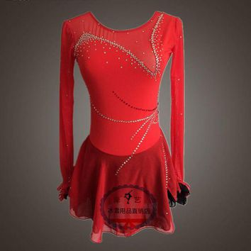 DKLW8 red figure skating dresses for girls hot sale custom ice skating clothing women competition skating dresses free shipping