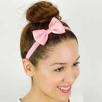 Pink Hair Bow Headband Hair Accessories POWDER PINK Girls Headband Pink Elastic headband Pink Bow Headband Women's Headband Baby Hair Bow