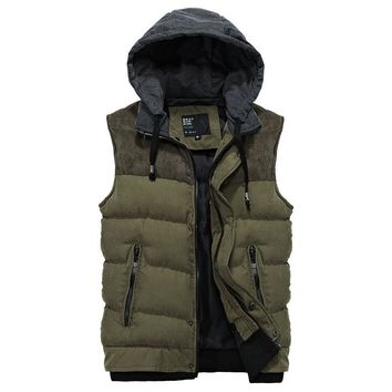 Spring Autumn Winter Men Vest Casual Hooded Cotton padded Waistcoat