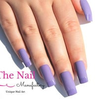 Matte and Glossy Purple Fake Nails - French Style- Matte Purple Nails with glossy Tips - Square shape Nails - Handpainted Fake Nail Set