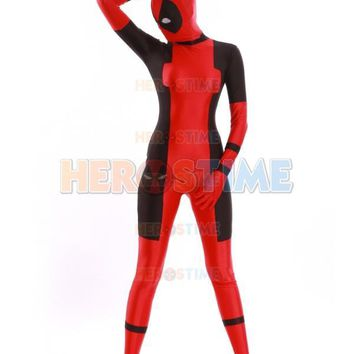 Lady Deadpool Costume Red and Black Spandex Halloween Female Deadpool Superhero Costume Hot Sale Zentai Girls Suit Free Shipping
