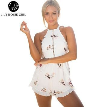 VONEML3 Lily Rosie Girl Women 2017 Hollow Out Floral Boho Beach Romper Black Sexy Print Summer Party Off Shoulder Playsuit Overalls