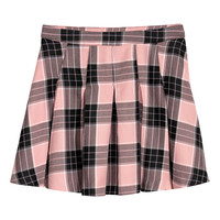 Pleated skirt - Pink/Black checked - Ladies | H&M GB