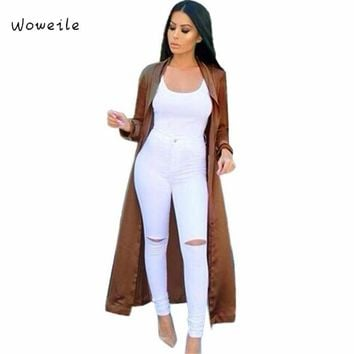 Woweile Green Coffee Black Chiffon Long Sleeve Chic And Modern Women Long Duster Coat  long Casual Jacket