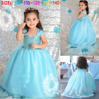 2014 NEW Frozen Children Girls Puff Sleeve Dresses 2014 Kids Clothing Sequin Princess Dress With Cappa Childs Tulle Elsa Anna Dressy.