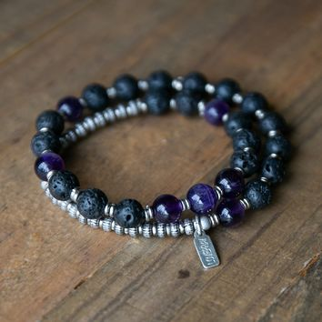 Lava Rock and Amethyst Men's Wrap Bracelet, Crown Chakra Bracelet