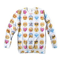 Women's Sweaters EMOJI Network expression 3D Hoodies Galaxy Sweatshirts Small White