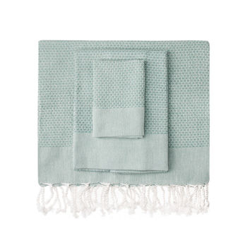 Teal Honeycomb Turkish Peshtemal Towel