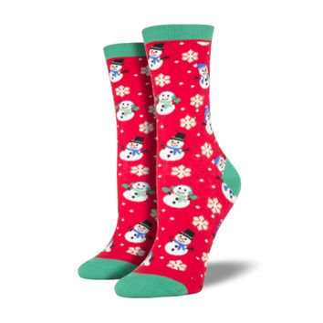 Novelty Socks LET IS SNOW RED Fabric Graphic Cotton Crew Wnc400-Red