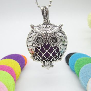 Newest Arrival Charming Owl Slide Magnetic Locket Pendant fit with 30mm Felt Pads Fashion Essential Oil Diffuser Necklace