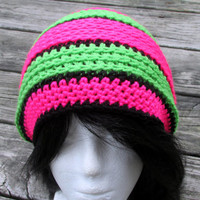 Crochet Slouchy Hat, Slouchy Beanie, Neon Striped Crochet Beanie, 80's Inspired Winter Hat, Teen Adult Slouch