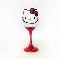 Hello Kitty wine glass  hand painted  by durbandecordesigns
