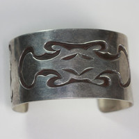 Sterling Cuff Bracelet Native American Style Abstract Design Vintage Hippie