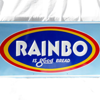 Rainbo Vintage Sign, Bread Advertising Sign; Industrial Mid Century Decor