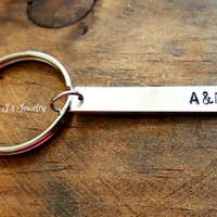 Couples Initials Keychain, Couples Key Ring, Personalized Initialed Keychain, Customized Keychain, Keychain for couples, Gift for Her or Him
