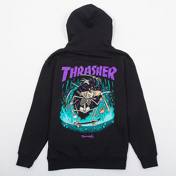 Diamond Supply Co X Thrasher Hoodie Color:Black Size:Large