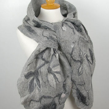 Felted cobweb scarf- felt shawl merino wool cobweb white  grey black  winter fiber art gift under 100 USD