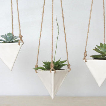 White Porcelain Hanging Triangular Planter - Small