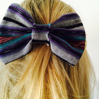 Guatemala tribal fabric bow barrette- hair accessory; teal, red and purple
