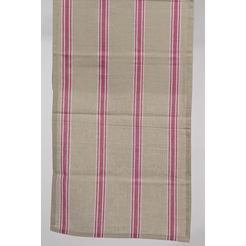 "55"" x 15.75"" Naturelle et Terreuse Brown White and Pink Striped Table Runner"