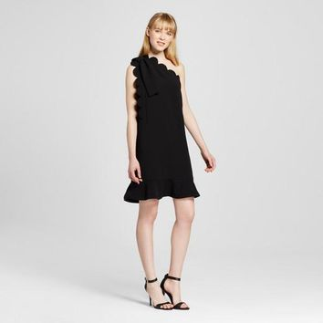 Victoria Beckham Black One Shoulder Dress with Bow and Scallop