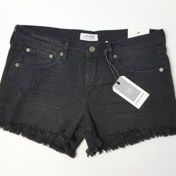 Distressed Cut Off Denim Shorts - Black