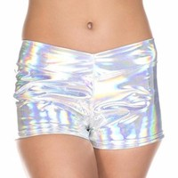 Silver Ultra Shine Wet Look (Metallic) Long Booty Shorts