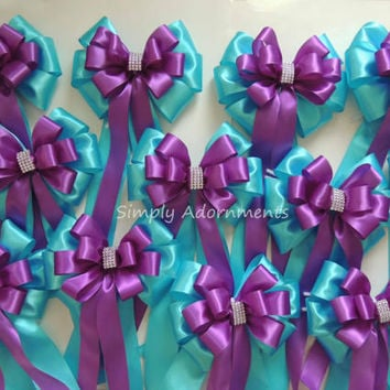 Turquoise Purple Bling Wedding Pew Bow Peacock Wedding Bow Ceremony Decoration Purple Blue Wedding Bow Church Aisle Pew Bow Shower Decor Bow