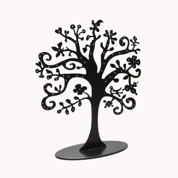 Metal Jewelry Tree Stand Jewelry Organizer Holder Display for Earrings, Bracelets, Necklaces, Black 16032