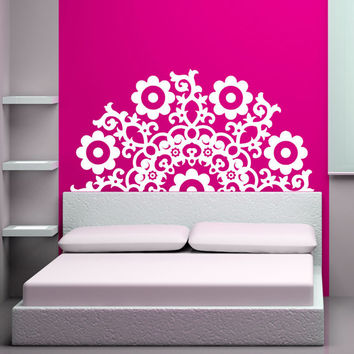 Daisy Headboard, Bed, Twin, Full, Queen King, California, Ca, Decal, Vinyl, Sticker, Wall Art, home, bedroom, nursery, kid's decor