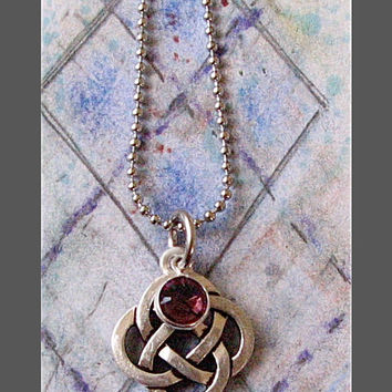 Celtic Knot Necklace Swarovski Amethyst Crystal Pendant, Irish Jewelry, Topaz Birthstone, Sister Friendship Jewelry