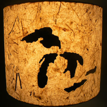 Paper Drum Lamp Shade, Great Lakes/ Michigan Outline, Rustic Home Decor, Artisan Papers