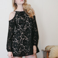 Starlet - Reversible black lace mini dress with cutout shoulders