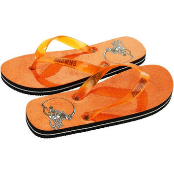 Cleveland Browns Women's Glitter Flip Flops - Orange