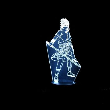 Naruto Sasauke ninja 7 Color Changing Led Kids Bedside Sasuke Modelling 3D Visual Anime USB Desk Lamp Home Decor  Night Lights Lighting Fixture AT_81_8