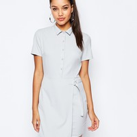 Missguided Short Sleeve D-Ring Wrap Shirt Dress at asos.com