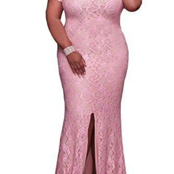 Elapsy Womens Plus Size Off Shoulder Strapless High Slit Floral Maxi Party Long Cocktail Dress Pink X-Large