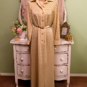 70s Gold Lame Dress, 1970s HoundsTooth Maxi, Long Elegant Gown, Rhinestone Jewel Buttons, Sophisticated Dress, Long Sleeve Dress, Sz Large
