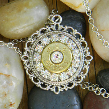 Bullet Necklace, Bullet Jewelry, 45 Caliber Necklace, Outlaw Glam