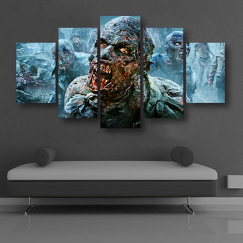 5 Panel The Walking Dead Zombies Canvas Wall Art