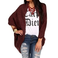 Burgundy Cocoon Sweater With Buttons